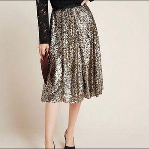 Anthropologie Maeve Orleans Sequined Midi Skirt